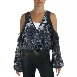 Band Of Gypsies Ruffle Bodysuit cold shoulder top